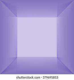 Vector square box with blank inner space. 3D blue lit empty room interior perspect view. Photobox inside.