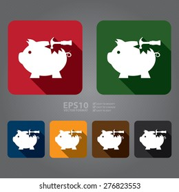 Vector : Square Broken Piggy Bank With Hammer Flat Long Shadow Style Icon, Label, Sticker, Sign or Banner
