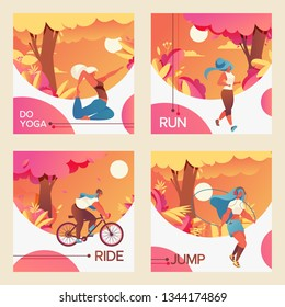 Vector square cards with young girls riding bycicle, doing youga, jumping with skipping rope and jogging. Vivid colors drawn with gradients and vivid greenery. Sport healthy lifestyle collection