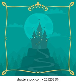 Vector square cartoon background with castle on the hill and calligraphic frame.