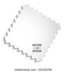 Vector Square Frame Banner. White Zigzag Border