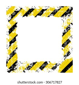 vector square frame black yellow shabby old lines warning of the dangers of
