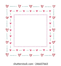 Vector square frame border made of hand drawn hearts. Cute and romantic, perfect for Valentine's day greeting.
