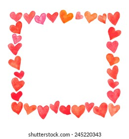 Vector square frame made of hand painted watercolor hearts. Cute and romantic, perfect for Valentine's day greeting.