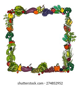 Vector square frame made from hand drawn fruit, vegetables and culinary herbs.