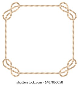 Vector square frame made of intertwined ropes over white background