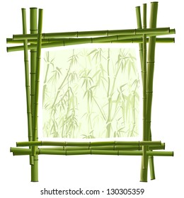 Vector square frame for photography from green bamboo.