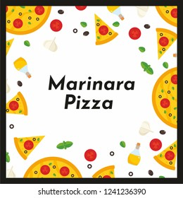 Vector square frame of pizza and ingredients. Background for invitations, advertisements, postcards. Option No1