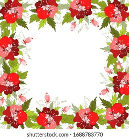 Vector square frame of red flowers and leaves, floral ornament. Template for greeting card, invitation, wedding, birthday.
