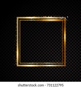 Vector square frame. Shining banner. Isolated on black transparent background Vector illustration