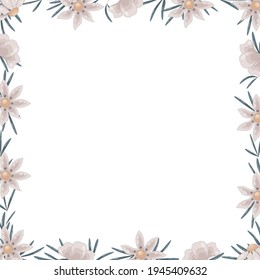 Vector square frame of wildflowers. The wild daisy border has room for text inside.