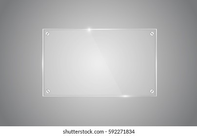 Vector square glass frame. Isolated on transparent background. Vector illustration, eps 10.