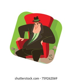 Vector square green frame with cartoon image of a funny fat man capitalist in a black suit and hat sitting in a big red chair with bags of money next to on white background. Business, finance,monopoly