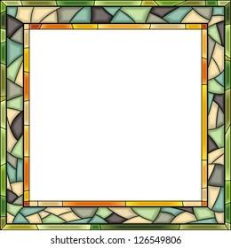 Vector square, green stained-glass window frame for photography.