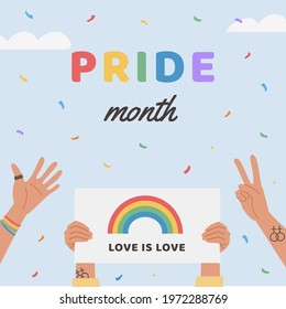 Vector Square Greeting Card with LGBT community people on Pride Parade holding placard. Banner with LGBTQ symbols. Social media post. Poster with queer symbols. Flat style Illustration for pride month