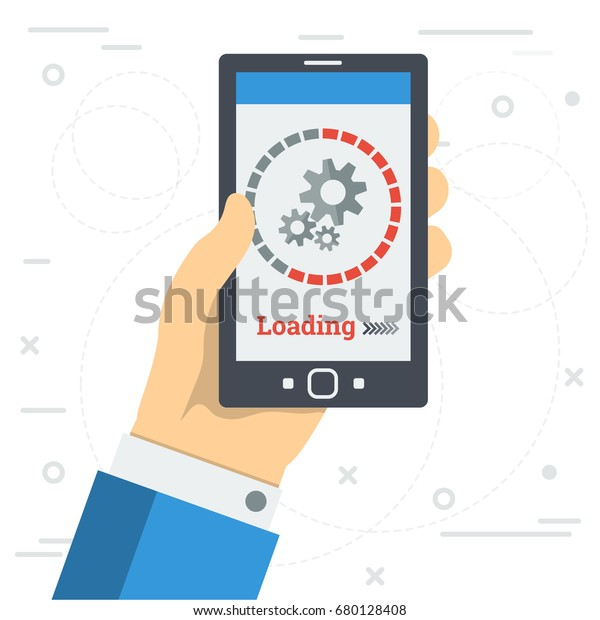 Vector Square Illustration Loading Process Mobile Stock
