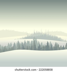 Vector square illustration of snowy morning coniferous forest valley.