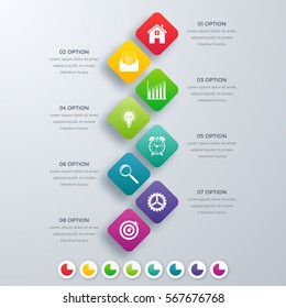 Vector square infographics with icons. Template for presentation. Diagram concept with 8 parts