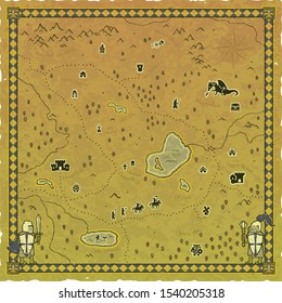 Vector of a square medieval fantasy map with a frame, a compass and knights on a worn parchment background. Icons: campfire, dragon, knight, paladin, castle, ogre, dungeon magician, treasure chest...