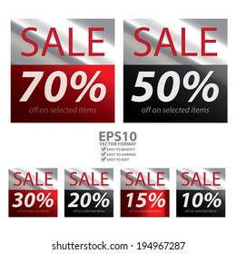 Vector : Square Metallic Style Sale 10-70 Percent Off on Selected Items Sticker or Label Isolated on White Background