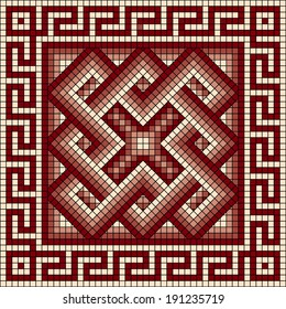 vector square mosaic with classic Greek meander ornament