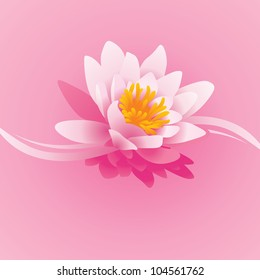 vector square pink background with water lily flower and waves