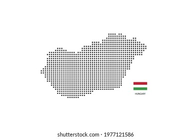 Vector square pixel dotted map of Hungary isolated on white background with Hungary flag.