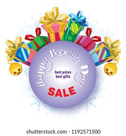 Vector square poster for Boxing Day. A circle with an inscription. A set of different gifts in a circle. White background with snowflakes