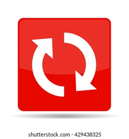 vector square red icon with reload sign