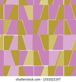 Vector square shapes seamless pattern. Woodblock print style repeat in yellow and lilac colorblock.