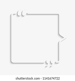Vector Square Speech Bubble Quote Blank Template. Empty Qoute Template. Business Card Template, Information, Text. Bracket. Sending, Direct Speech. Quotes. Speech Qoute Object.