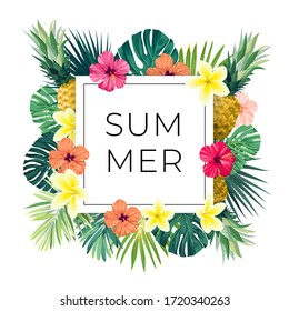 Vector square summer design with exotic monstera palm leaves, Frangipani and Hibiscus flowers, pineapples and space for text. Sale offer template, banner of flyer background. Tropical backdrop