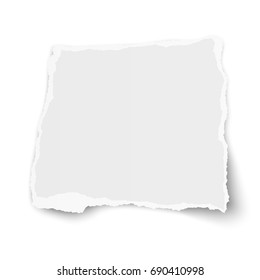 Vector square torn paper tear with soft shadow isolated on white background