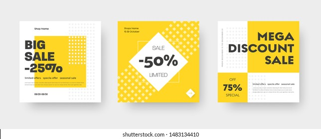 Vector square web banner templates for big and mega sale with yellow square elements. Set for discounts. Social Media Design