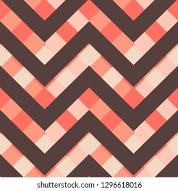 Vector square zigzag seamless pattern, gradient, living coral, brown granite