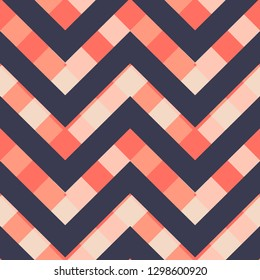 Vector square zigzag seamless pattern, gradient, living coral, eclipse