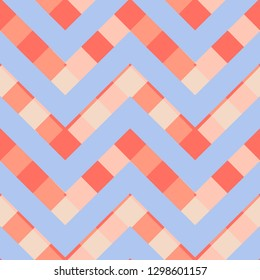 Vector square zigzag seamless pattern, gradient, living coral, pastel blue