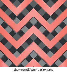 Vector square zigzag seamless pattern, gradient, living coral, black