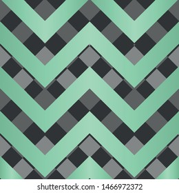 Vector square zigzag seamless pattern, gradient, neo mint, black