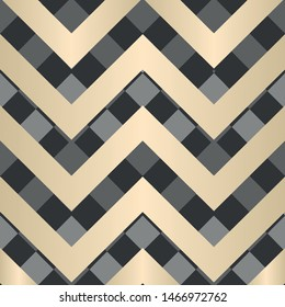Vector square zigzag seamless pattern, gradient, beige, black