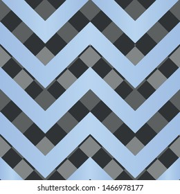 Vector square zigzag seamless pattern, gradient, pastel blue, black