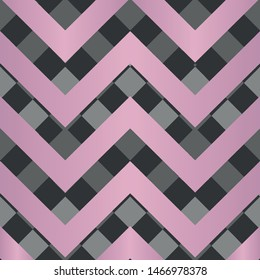Vector square zigzag seamless pattern, gradient, pink, black