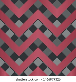 Vector square zigzag seamless pattern, gradient, red, black