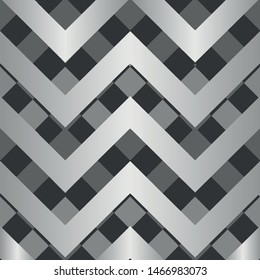 Vector square zigzag seamless pattern, gradient, silver, black