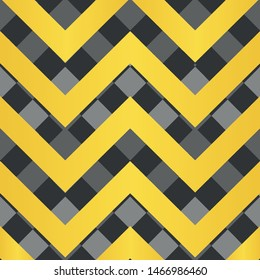 Vector square zigzag seamless pattern, gradient, gold, black