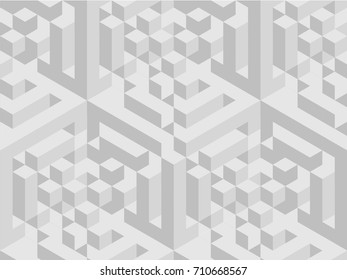Vector squared pattern. Geometric texture in grey color. Effect stylish tiles. 3d abstract dynamic background created of cubes.