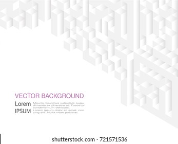 Vector squared pattern. Geometric texture in white color. Effect stylish tiles. 3d abstract dynamic background created of cubes.