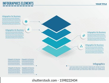 Vector squares 3D infographic, layers diagram chart, graph presentation. Business infographics startup concept with 4 options