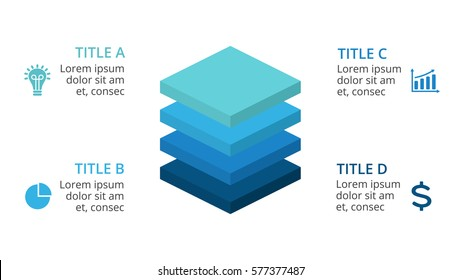 Vector squares 3D infographic, layers diagram chart, graph presentation. Business infographics startup concept with 4 options, parts, steps, processes. 16x9 slide template.