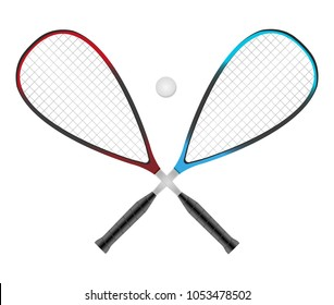 Vector squash or racketball crossed rackets with ball